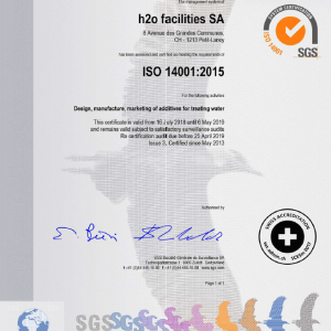 iso certification for polyamines water chemicals manufacturing 14001