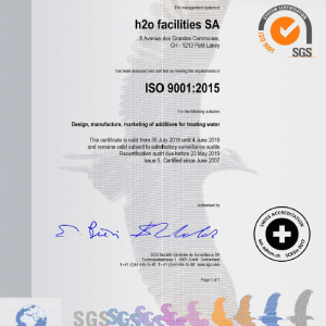 iso certification for polyamines water chemicals manufacturing 9001